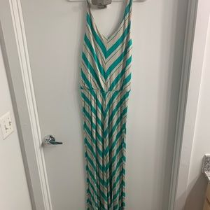 Ella moss turquoise stripe maxi dress